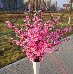 Rajahubri Artificial Peach Blossom Simulation Peach Branches Flowers Silk Peach Flowers Decorati ...
