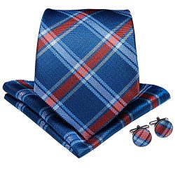 DiBanGu Plaid Tie Men's Silk Tie and Pocket Square Cufflinks Tie Clip Set Wedding Business ...