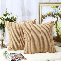 Miaote Pack of 2 Decorative Throw Pillow Covers Cases for Couch Bed Sofa,Striped Corduroy Velvet ...