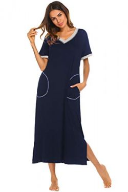 Ekouaer Women's Sleepshirt Short Sleeve Night Dress (Navy1, Medium)