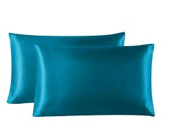 Lovescabin Two-Pack Satin Pillowcases Set for Hair and Skin Standard/Queen Size 20×30 Teal  ...