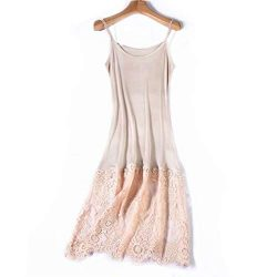 Zylioo Womens Mulberry Silk Long Spaghetti Strap Full Slips Dresses Lace Comfy Slim Fit Camisole ...
