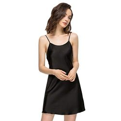Miqieer Women Long Silky Tank Top Full Slips Silk Blend Straight Dress Nightwear Black