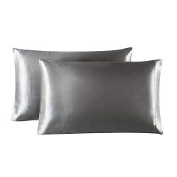 Lovescabin Two-Pack Satin Pillowcases Set for Hair and Skin King Size 20×40 Dark Grey Pillo ...