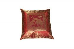 Real Online Seller Home Decorative Handmade Vintage Silk Brocade Zari Elephant Cushion Cover Eth ...