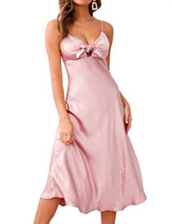 FANCYINN Women's Satin Dress Tie Front Spaghetti Strap V Neck Sleeveless Silky Smooth Nightgown  ...