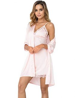 Sykooria Women's Sexy Silk Satin Kimono Robe Bathrobe Camisole Nightgown Pajama Dress 2 Pi ...
