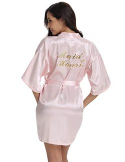 Vlazom Bridal Bridesmaid Robes Silk Bride Party Robes Dressing Gwon, Wedding Day Robes, Glitter  ...