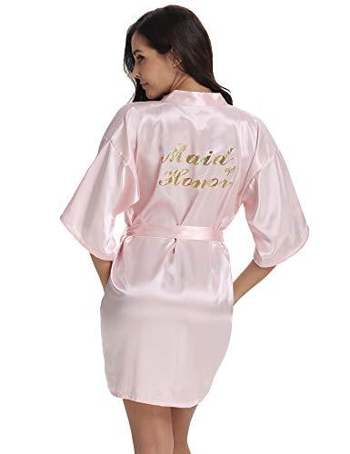 Vlazom Bridal Bridesmaid Robes Silk Bride Party Robes Dressing Gwon, Wedding Day Robes, Glitter  ...