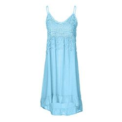Sunhusing Women's Solid Color Sexy Lace Patchwork Off-Shoulder Strap Long Dress Summer Tas ...