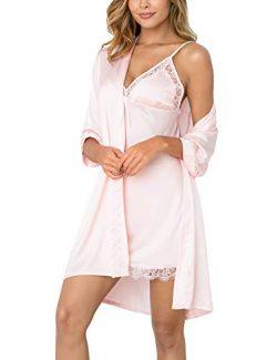 Sykooria Women's Sexy Silk Satin Kimono Robe Bathrobe Camisole Nightgown Pajama Dress 2 Pi ...