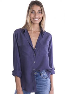 CAMIXA Womens 100% Silk Blouses Ladies Shirt Casual Pocket Button up Elegant Top XS Blue