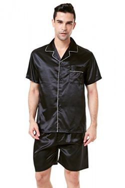 TONY AND CANDICE Men's Short Sleeve Satin Pajama Set with Shorts (XX-Large, Black with Whi ...