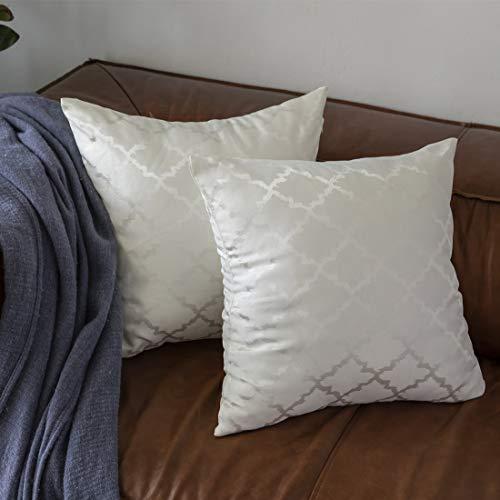 GIGIZAZA White Throw Pillow Covers, Pack of 2 Egg Geometric Silky Throw Pillow Cases for Sofa Lu ...