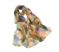 Print Silk Feeling Scarf Fashion Scarves Lightweight Shawl Scarf Sunscreen Shawls for Womens (Le ...