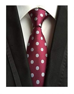 Men's Luxury Wine Red White Dot Jacquard Woven Silk Tie Burgundy Wedding Necktie