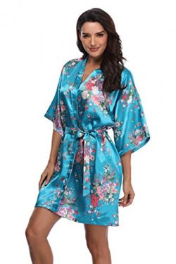 Mignon Cromwell Women's Floral Bride Bridesmaids Robe Satin Wedding Kimono Bridal Dressing ...