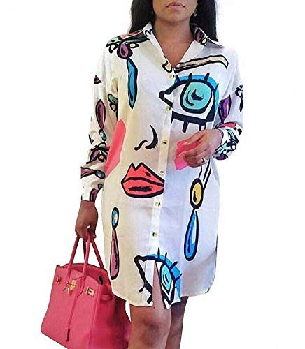 Remelon Womens Graffiti Lip Print Button Down Collar Long Shirt Dress Blouse Mini Dress White Small