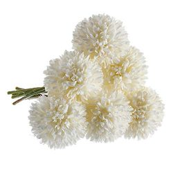 CQURE Artificial Flowers, Fake Flowers Silk Plastic Artificial Hydrangea 6 Heads Bridal Wedding  ...