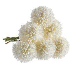 CQURE Artificial Flowers, Fake Flowers Silk Plastic Artificial Hydrangea 6 Heads Bridal Wedding  ...