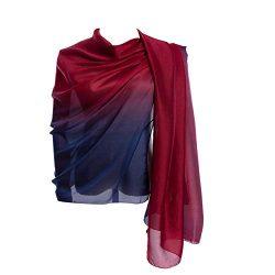 Cyzlann Women's Scarves 100% Silk Long Lightweight Scarfs for Women (dark red blue)
