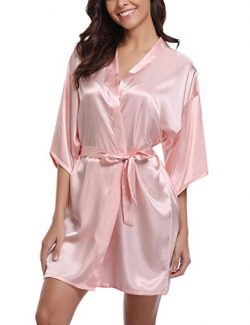 Abollria Women's Wedding Party Robes Short Silk Bridal Bathrobe,Pink,M
