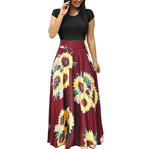 BODOAO Women Summer Short Sleeve Sunflower Print Sundress Casual Swing Dress Maxi Dress