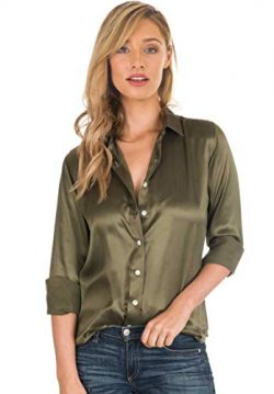 CAMIXA Women 100% Silk Blouse Long Sleeve Ladies Shirt Satin Pure Charmeuse Silk XL Olive Green
