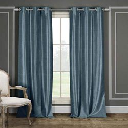Duck River Textile Daenerys Faux Silk Grommet Top Window Curtain 2 Panel Set, 38 X 84, Blue