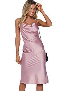 Moxeay Womens Cowl Neck Backless Spaghetti Strap Cocktail Bodycon Midi Dress (L(US/6), Purple)