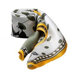 21″ X 21″ Small Square 100% Silk Scarf Neckerchief Soft Smooth (Racing Horse Olive G ...
