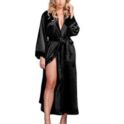 Conina Women's Underwear, Sexy Long Silk Kimono Dressing Gown Lace Lingerie Bath Robe (Black)