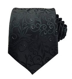 Men's Women Boys Black Elegant Designer Jacquard Silk Tie Formal Self UK Necktie