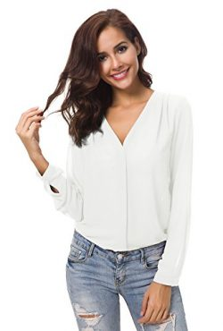 Urban CoCo Womens V Neck Ruffled Shoulder Solid Chiffon Blouse (Medium, White)