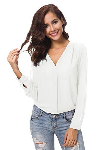 Urban CoCo Womens V Neck Ruffled Shoulder Solid Chiffon Blouse (Medium, White)
