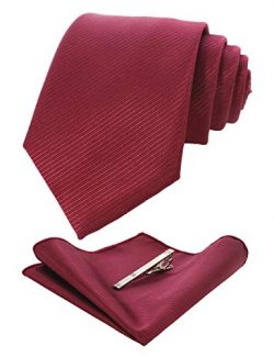JEMYGINS Burgundy Formal Necktie and Pocket Square Tie Clip Sets for Men (33)