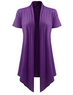 All for You Women's Soft Drape Cardigan Short Sleeve Purple Small