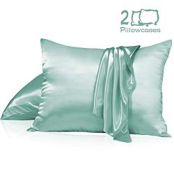 Muama Satin Silk Pillowcase 2 Pack for Hair and Skin Luxury Silky Pillow Case Super Soft and Bre ...