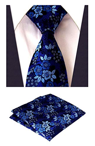 MOHSLEE Men's Blue Flowers Silk Neck Ties Necktie Handkerchief Pocket Square Set
