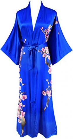 Ledamon Women's 100% Silk Kimono Long Robe – Classic Colors and Prints (Sapphire Blu ...