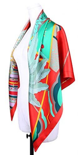 Grace Scarves 100% Silk Scarf, Extra-Large, Tropical Treasures, Green and Red