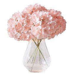Kislohum Artificial Hydrangea Flowers Blush Heads 10 Fake Hydrangea Silk Flowers for Wedding Cen ...
