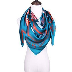 Grace Scarves 100% Silk Scarf, Extra-Large, Tags And Tassles, Blue-Green