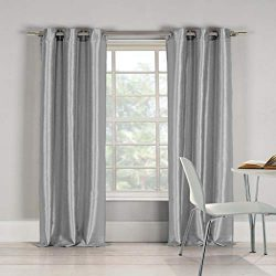 Duck River Textiles – Home Fashion Solid Faux Silk Grommet Top Window Curtains for Living  ...