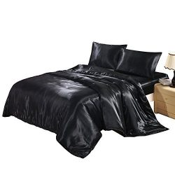Lucky lover Hotel Quality Black Duvet Cover Set King Size Silk Like Satin Bedding with Hidden Zi ...