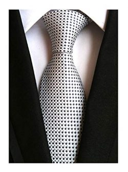 Mens Silver Grey Silk Ties Grenadine Texture Formal Thanksgiving Dress Neckties