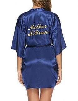 Hawiton Women's Satin Silk Bride & Bridesmaid Robe Gold Glitter Wedding Party Kimono Robes