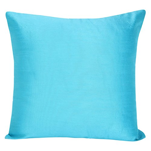 Set of 2 Turquoise Art Silk Pillow Covers, Plain Silk Cushion Cover, Solid Color Turquoise Throw ...