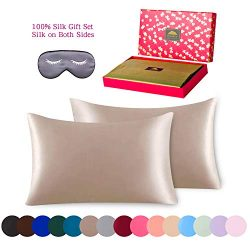 BlueHills 3 Piece Luxury Silk Gift Set 100% Pure Mulberry Natural Soft Silk Pillowcases 2 Pack f ...