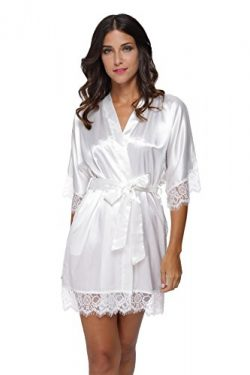Silk Kimono Robe Women Sleepwear Short Bridesmaid Bath Robes Wedding Party White
